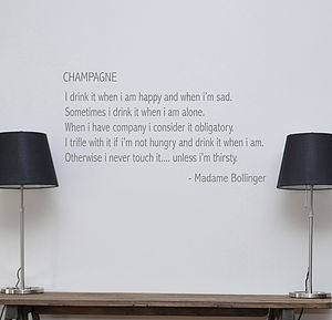 Champagne Quote Wall Sticker - wall stickers by room