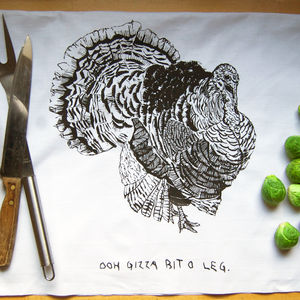 'Ooh Gizza Bit O Leg' Christmas Tea Towel