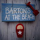 beach sign_blue wash with country red detail