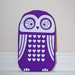 Screen Printed Owl Hot Water Bottle Cover - hot water bottles & covers