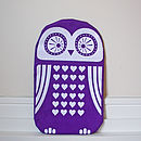 Screen Printed Owl Hot Water Bottle Cover