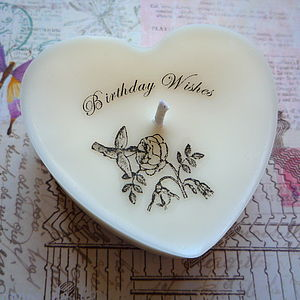 Personalised Birthday Heart Candle - living room