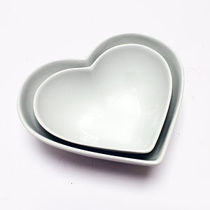 Heart Shaped Bowls Set Of Two - ceramics