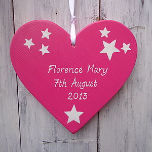 Personalised New Baby Heart - baby & child