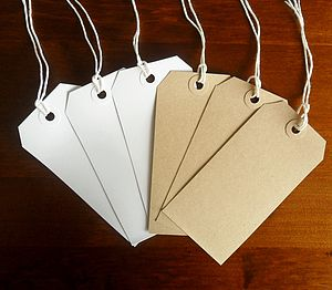 Pack Of 100 Vintage Luggage Tag Gift Labels - dining room