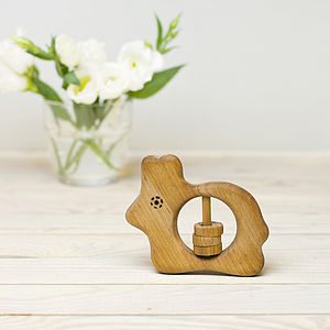 Wooden Bunny Shaped Rattle - toys & games