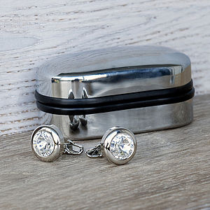 Crystal Cufflinks And Engraved Box