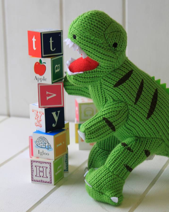 Mini Dinosaur Knitting Pattern : knitted t rex dinosaur by posh totty designs interiors notonthehighstreet.com