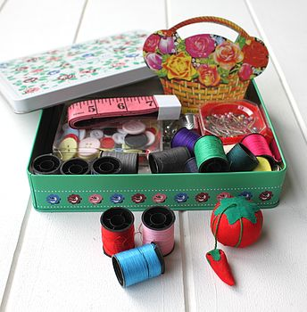 Vintage Style Sewing Tin