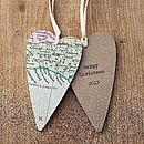 Personalised Long Heart Map Decoration