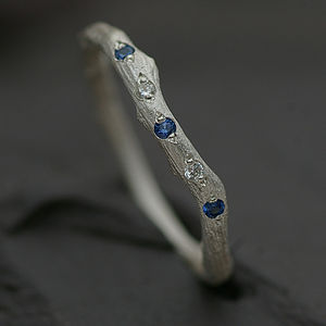 Eternity Ring Set With Blue Topaz And Diamond