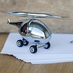 Chrome Helicopter Paperweight And Pen