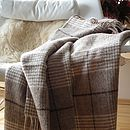 Brown Ivory Squares Wool Throw Leonardo