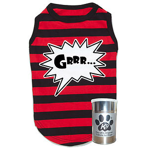 'Grrr' Red And Black Stripe T Shirt For Dogs - clothes