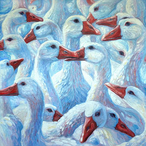 A Gaggle Of Geese Oil Painting - paintings & canvases