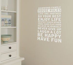 'Personalised' House Rules Wall Sticker - home accessories
