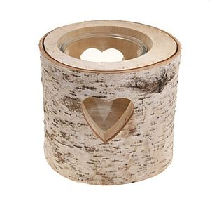 Large Heart Bark Candle Holder - lights & candles
