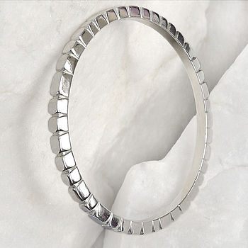 Sterling Silver Bangle With Cobble Effect