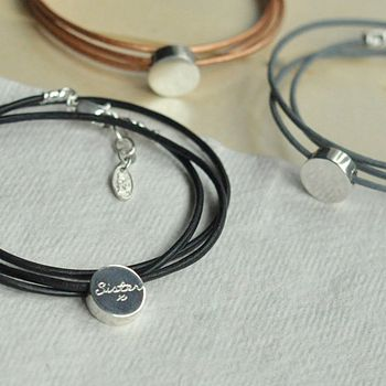 Personalised Charm Leather Wrap
