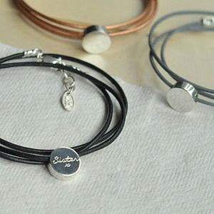 Personalised Charm Leather Wrap - gifts for her