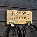Oak stable sign with hooks