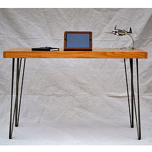 Green Inlay Oak Hairpin Desk Striking - furniture