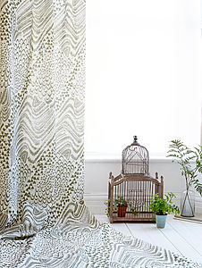 Starling Bird Fabric | Olive - throws, blankets & fabric