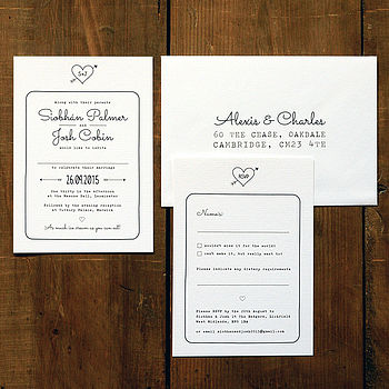 Heart And Arrow Wedding Invitation Suite