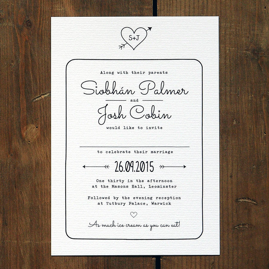 heart and arrow wedding invitation by feel good wedding invitations