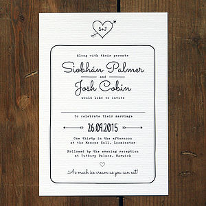 Heart And Arrow Wedding Invitation - wedding stationery