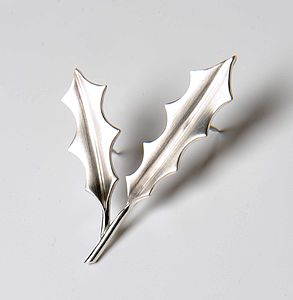 Silver Holly Brooch Brushed Finish - men's accessories