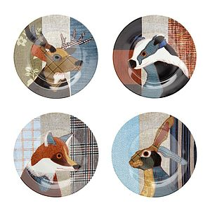 Beastie Stag, Hare, Badger And Fox Plate Set - dining room