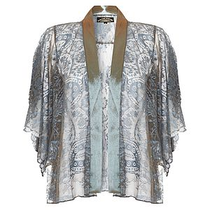 Cathleen Kimono Jacket In Winter Blue Lace - coats & jackets