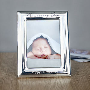 Silver Plated Christening Photo Frame - pictures & prints for children
