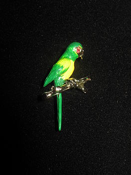 Vintage Hand Painted Parrot Brooch