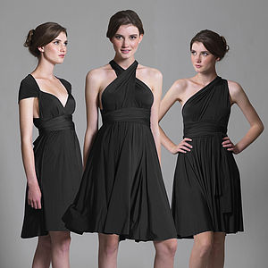 Black Multiway Knee Length Dress - luxury fashion