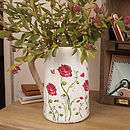 Earthenware Hand Painted Floral Pitcher