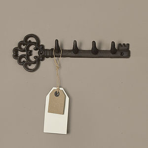 Traditional Cast Iron Wall Key Rack - hooks, pegs & clips