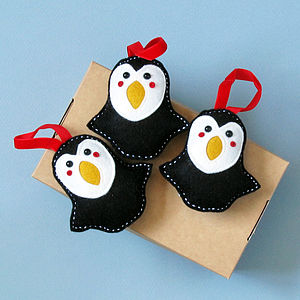 Three Percival Penguin Christmas Decorations