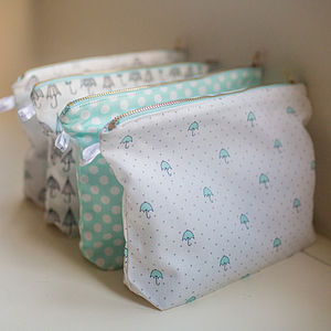Umbrella Print Pouches - make-up & wash bags