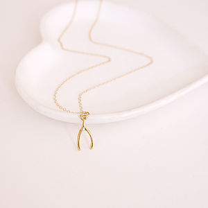 Gold Wishbone Charm Necklace