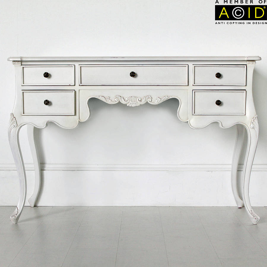 with high knee drawer drawers knightsbridge white hole vanity gloss table dressing