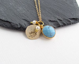 Gold Turquoise Charm Necklace - earrings
