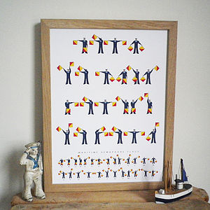 Personalised Naval Semaphore Flags Print