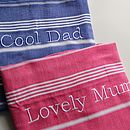 Personalised Dad Or Mum Beach Hamam Towel