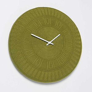 Gomitolo Knitted Cotton Clock In Green - home accessories