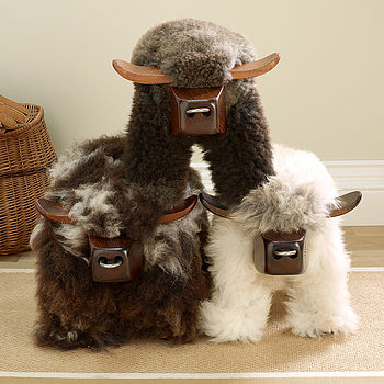 Natural Bull Shaped Sheepskin Footstool Various Colours