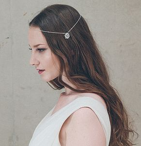 Ophelia Silver Wedding Circlet Forehead Band - hair pieces