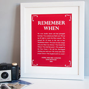 Personalised 'Remember When' Print - art & pictures
