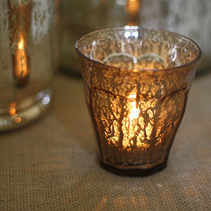 Luxe Mercury Gold Tea Light Holder - table decorations